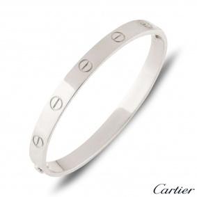 Cartier White Gold Plain Love Bracelet Size 21 B6035421
